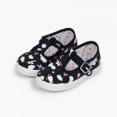 Canvas T-bar Patterned Shoes with Button Closure Navy Blue