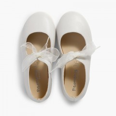Leather Mary Janes with tulle bow  Off-White