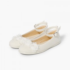 Linen ballet pumps with ankle strap and flower decoration Beige