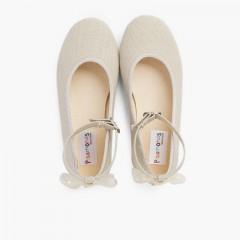 Linen Buckle Strap Ballet Flats Organza Back Bow Beige