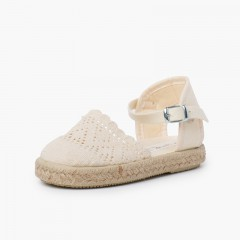Girls Buckle Up Brogue Espadrille Wedge Off-White