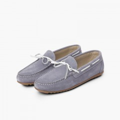 Boys Suede Bow Ceremony Moccasins Blue
