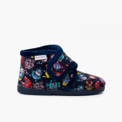 Kids Boot Slippers with Drawings blue  robots