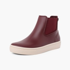 Wellies with elastic bands and wide sole basquet Burgundy