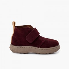 Boys suede boots sport sole with adherent strap Burgundy
