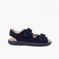 Split leather sandal with adherent front strips Navy Blue