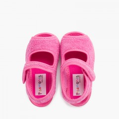 Slipper sandal terry towel adherent strip Fuchsia