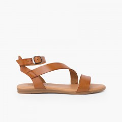 Girl and woman leather sandal cross strap bracelet buckle Leather