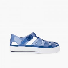 Jelly sandals tennis clip closure Navy Blue