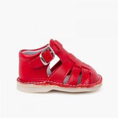 Baby leather sandals with buckle closure Red
