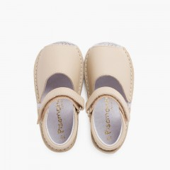 Leather menorcan baby sandals adherent strip  Beige