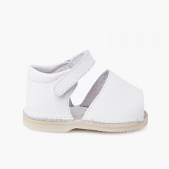 Leather menorcan baby sandals adherent strip  White