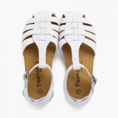 Woman and children leather sandals with bio sole White
