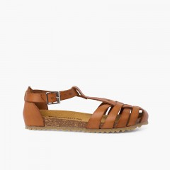 Woman and children leather sandals with bio sole Leather
