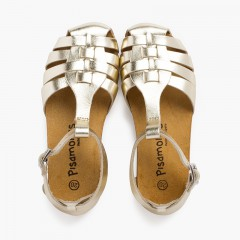 Woman and children leather sandals with bio sole Gold
