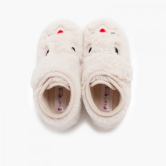 Soft fur bunny slippers Off-White