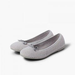 Girls Ballet Pumps Slippers Grey