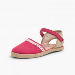 Girls Espadrilles Canvas & Linen Lace Raspberry