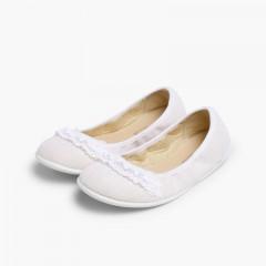 Laced Linen Ballet Pumps White