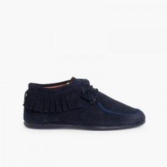 Fringed Ankle Boots for Kids and Women  Navy Blue