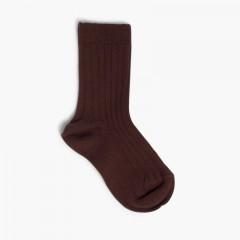 CONDOR Short Ribbed Socks Brown