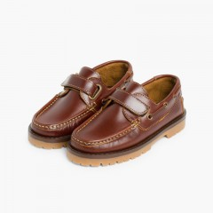 Boys Riptape Deck Shoes Brown