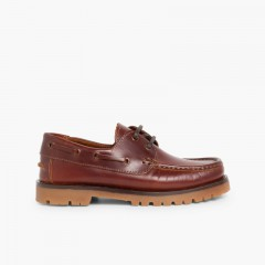 Boys Lace-Up Deck Shoes Brown