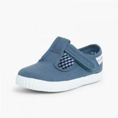 Boys T-Bar loop fasteners Shoes Blue denim