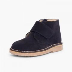 Kids Riptape Suede Desert Boots Navy Blue