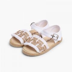 Fringed Espadrille Style Sandals White