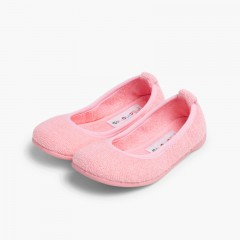 Girls Ballerina Bouclé Towelling House Slippers Pink