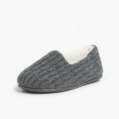 Kids Cable Knit Slippers Grey