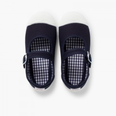 Girls Buckle Up Rubber Toe Cap Canvas Mary Janes Navy Blue
