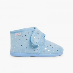 Bootie Slippers with Little Stars  Sky Blue