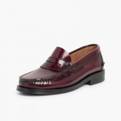 Leather Slip-on Loafers  Burgundy