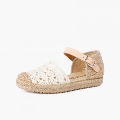 Girls macramé espadrille sandal with buckle Off-White