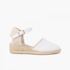 wedge espadrilles with buckle for girls White