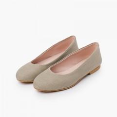Party Linen Ballet Flats for Girls and Women Light Brown
