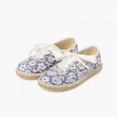 Flowers and Jute Blucher with Satin Laces Navy Blue