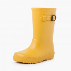 Pastel buckle rain boots Yellow