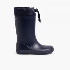 Adjustable high top wellington boots