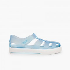 Jelly shoes with loop fasteners strap Star Sky Blue