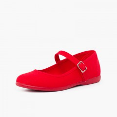 Girls´ canvas Mary Janes with buckle fastening Red