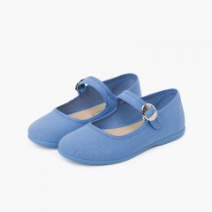 Canvas Mary Janes with Japanese buckle fastening Airforce blue