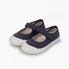 loop fasteners Mary Janes with Reinforced Rubber Toe Navy Blue