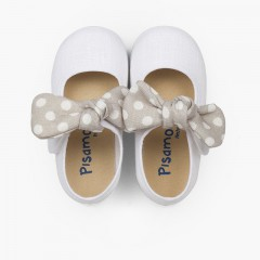 Angel-style Mary Janes with Polka Dot Bow White and Grey