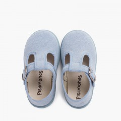 Casual T-Bar Shoes with Sport Sole same Tone  Sky Blue