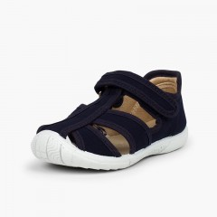 Boys' loop fasteners T-Bar Sandals with Reinforced Toe Navy Blue