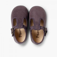 Boys Faux Suede T-Bar Shoes Grey