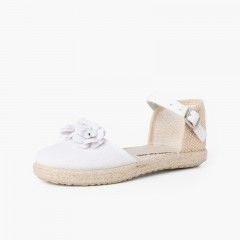 Flowers espadrille sandal with leather strap White